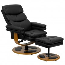 Flash Furniture BT-7828-PILLOW-GG Contemporary Black Leather Recliner and Ottoman with Wood Base addl-4