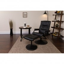 Flash Furniture BT-7862-BK-GG Contemporary Black Leather Recliner and Ottoman with Leather Wrapped Base addl-4
