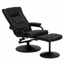 Flash Furniture BT-7862-BK-GG Contemporary Black Leather Recliner and Ottoman with Leather Wrapped Base addl-5