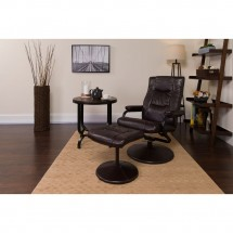 Flash Furniture BT-7862-BN-GG Contemporary Brown Leather Recliner and Ottoman with Leather Wrapped Base addl-4