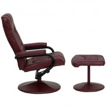 Flash Furniture BT-7862-BURG-GG Contemporary Burgundy Leather Recliner and Ottoman with Leather Wrapped Base addl-1