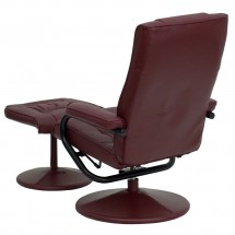 Flash Furniture BT-7862-BURG-GG Contemporary Burgundy Leather Recliner and Ottoman with Leather Wrapped Base addl-2