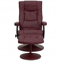 Flash Furniture BT-7862-BURG-GG Contemporary Burgundy Leather Recliner and Ottoman with Leather Wrapped Base addl-3