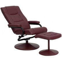 Flash Furniture BT-7862-BURG-GG Contemporary Burgundy Leather Recliner and Ottoman with Leather Wrapped Base addl-4