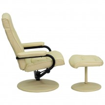 Flash Furniture BT-7862-CREAM-GG Contemporary Cream Leather Recliner and Ottoman with Leather Wrapped Base addl-1