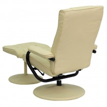 Flash Furniture BT-7862-CREAM-GG Contemporary Cream Leather Recliner and Ottoman with Leather Wrapped Base addl-2