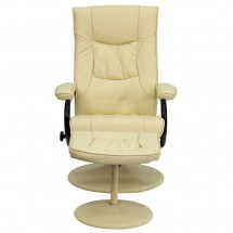 Flash Furniture BT-7862-CREAM-GG Contemporary Cream Leather Recliner and Ottoman with Leather Wrapped Base addl-3