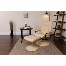 Flash Furniture BT-7862-CREAM-GG Contemporary Cream Leather Recliner and Ottoman with Leather Wrapped Base addl-4
