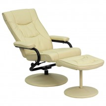 Flash Furniture BT-7862-CREAM-GG Contemporary Cream Leather Recliner and Ottoman with Leather Wrapped Base addl-5