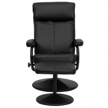 Flash Furniture BT-7863-BK-GG Contemporary Black Leather Recliner and Ottoman with Leather Wrapped Base addl-3