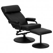Flash Furniture BT-7863-BK-GG Contemporary Black Leather Recliner and Ottoman with Leather Wrapped Base addl-5