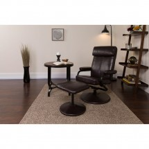 Flash Furniture BT-7863-BN-GG Contemporary Brown Leather Recliner and Ottoman with Leather Wrapped Base addl-4