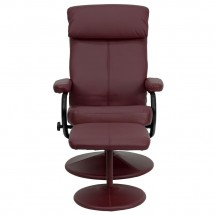 Flash Furniture BT-7863-BURG-GG Contemporary Burgundy Leather Recliner and Ottoman with Leather Wrapped Base addl-3