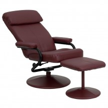 Flash Furniture BT-7863-BURG-GG Contemporary Burgundy Leather Recliner and Ottoman with Leather Wrapped Base addl-4
