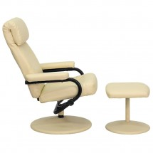 Flash Furniture BT-7863-CREAM-GG Contemporary Cream Leather Recliner and Ottoman with Leather Wrapped Base addl-1
