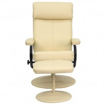 Flash Furniture BT-7863-CREAM-GG Contemporary Cream Leather Recliner and Ottoman with Leather Wrapped Base addl-3