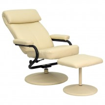 Flash Furniture BT-7863-CREAM-GG Contemporary Cream Leather Recliner and Ottoman with Leather Wrapped Base addl-4