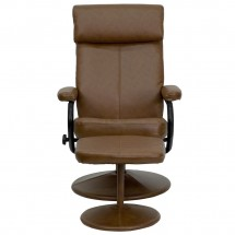 Flash Furniture BT-7863-PALOMINO-GG Contemporary Palomino Leather Recliner and Ottoman with Leather Wrapped Base addl-3