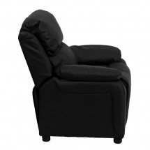 Flash Furniture BT-7985-KID-BK-LEA-GG Deluxe Heavily Padded Contemporary Black Leather Kids Recliner with Storage Arms addl-1