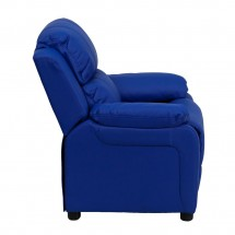 Flash Furniture BT-7985-KID-BLUE-GG Deluxe Heavily Padded Contemporary Blue Vinyl Kids Recliner with Storage Arms addl-1