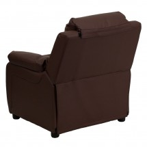 Flash Furniture BT-7985-KID-BRN-LEA-GG Deluxe Heavily Padded Contemporary Brown Leather Kids Recliner with Storage Arms addl-2