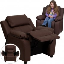 Flash Furniture BT-7985-KID-BRN-LEA-GG Deluxe Heavily Padded Contemporary Brown Leather Kids Recliner with Storage Arms addl-5