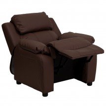 Flash Furniture BT-7985-KID-BRN-LEA-GG Deluxe Heavily Padded Contemporary Brown Leather Kids Recliner with Storage Arms addl-6