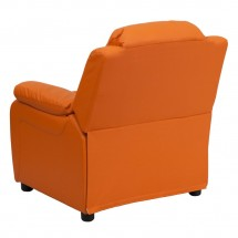 Flash Furniture BT-7985-KID-ORANGE-GG Deluxe Heavily Padded Contemporary Orange Vinyl Kids Recliner with Storage Arms addl-2
