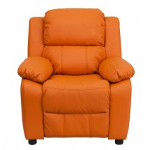 Flash Furniture BT-7985-KID-ORANGE-GG Deluxe Heavily Padded Contemporary Orange Vinyl Kids Recliner with Storage Arms addl-3