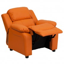 Flash Furniture BT-7985-KID-ORANGE-GG Deluxe Heavily Padded Contemporary Orange Vinyl Kids Recliner with Storage Arms addl-4