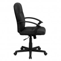 Flash Furniture BT-8075-BK-GG Mid-Back Black Leather Executive Swivel Office Chair addl-1