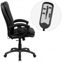 Flash Furniture BT-9585P-GG High Back Massaging Black Leather Executive Swivel Chair with Arms addl-1