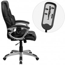Flash Furniture BT-9806HP-2-GG High Back Massaging Black Leather Executive Office Chair with Silver Base addl-1