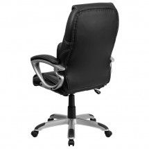Flash Furniture BT-9806HP-2-GG High Back Massaging Black Leather Executive Office Chair with Silver Base addl-2