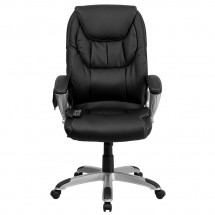 Flash Furniture BT-9806HP-2-GG High Back Massaging Black Leather Executive Office Chair with Silver Base addl-3
