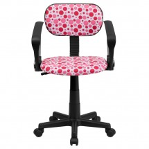 Flash Furniture BT-D-PK-A-GG Pink Dot Printed Computer Chair with Arms addl-3