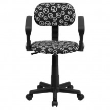 Flash Furniture BT-PEACE-A-GG Peace Sign Printed Computer Chair with Arms addl-3