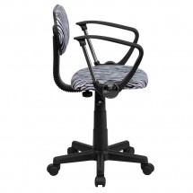 Flash Furniture BT-Z-BK-A-GG Black and White Zebra Print Computer Chair with Arms addl-1