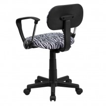Flash Furniture BT-Z-BK-A-GG Black and White Zebra Print Computer Chair with Arms addl-2