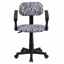 Flash Furniture BT-Z-BK-A-GG Black and White Zebra Print Computer Chair with Arms addl-3