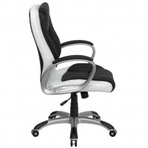 Flash Furniture CH-CX0217M-GG Mid-Back Black and White Leather Executive Swivel Office Chair addl-1