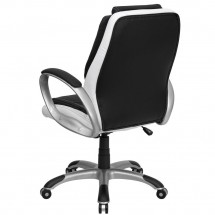 Flash Furniture CH-CX0217M-GG Mid-Back Black and White Leather Executive Swivel Office Chair addl-2