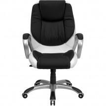 Flash Furniture CH-CX0217M-GG Mid-Back Black and White Leather Executive Swivel Office Chair addl-3