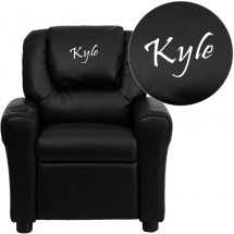 Flash Furniture DG-ULT-KID-BK-GG Contemporary Black Vinyl Kids Recliner with Cup Holder and Headrest addl-1
