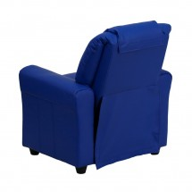 Flash Furniture DG-ULT-KID-BLUE-GG Contemporary Blue Vinyl Kids Recliner with Cup Holder and Headrest addl-2