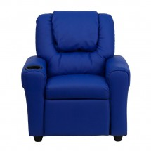 Flash Furniture DG-ULT-KID-BLUE-GG Contemporary Blue Vinyl Kids Recliner with Cup Holder and Headrest addl-3
