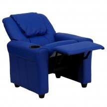 Flash Furniture DG-ULT-KID-BLUE-GG Contemporary Blue Vinyl Kids Recliner with Cup Holder and Headrest addl-4