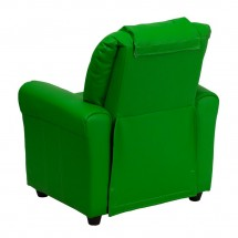 Flash Furniture DG-ULT-KID-GRN-GG Contemporary Green Vinyl Kids Recliner with Cup Holder and Headrest addl-2
