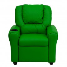 Flash Furniture DG-ULT-KID-GRN-GG Contemporary Green Vinyl Kids Recliner with Cup Holder and Headrest addl-3