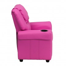 Flash Furniture DG-ULT-KID-HOT-PINK-GG Contemporary Hot Pink Vinyl Kids Recliner with Cup Holder and Headrest addl-1
